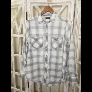 BDG bleached white grey flannel top xs
